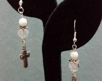 MOVING SALE! Crystal Cross Earrings Handmade