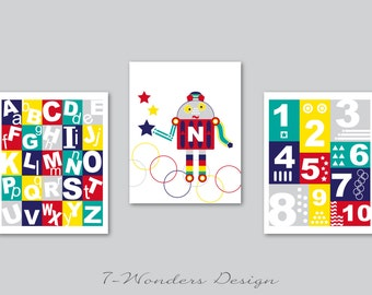 Boys Personalized Alphabet, Numbers, Robot Art Prints, Red Navy Teal Yellow, Nursery, Bedrooom Set of (3) 8x10 OR 11x14 - Unframed