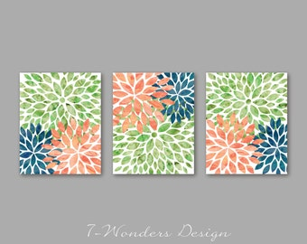 Orange Navy Green, Flower Bursts, Watercolor Art Prints, Floral Wall Art Set of (3) 3 Size Options // Modern Home Decor, Unframed
