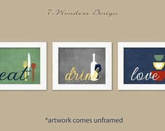 Kitchen Wall Art Print Set - Eat Drink Love - Kiwi Green, Grey, Denim Blue // Modern Kitchen Decor // Set of (3) Many Sizes // Unframed