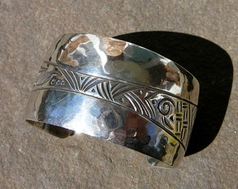 Silver Cuff Bracelet, Vintage Native American Jewelry, Native Sterling Cuff, Native American Jewelry, Artisan Signed Sterling Silver