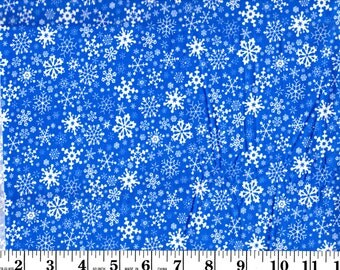 1 Yard 12 inches, White Snowflakes on Blue