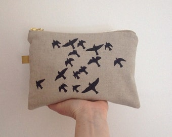 ON HOLIDAY Screen print pouch purse Large // natural linen navy print // flock of birds // hand printed zip zipper purse UK sel