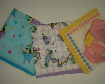 """Vintage Handkerchiefs 50's Children's Cotton Hankies Collection of 3 Hankies  Clown Theme and Candy and Pop Theme and Pink Bear 9""""  x  9"""""""