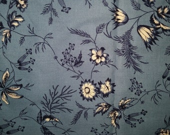 "Vintage Fabric Old Sturbridge Village Collection Village Blues by Judy Rothermel Cotton Calico Floral Print  38""  x   44"""