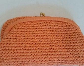 1960's Straw Clutch Purse Neon Orange Woven Raffia Made in Italy Fold Over Kiss Lock Mod 60's Summer Hand Bag