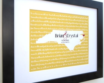 Wedding gift, couple custom song lyrics romantic anniversary gift, framed mat option, customized quote personalized map state love art print
