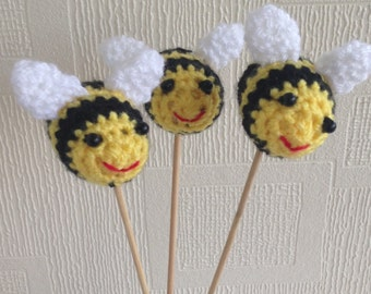 Yellow  Buzzi Bees On A Stick .Crochet Bees ,Unique funky quirky homedecor bees