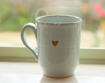 Large Mug with Pure Gold Heart, Tea Mug, Ceramic Mug, Coffee Lovers' Mug
