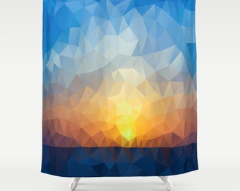 Blue Geometric Shower Curtain Sunset Art Curtain Triangles Abstract Curtain Mosaic Pattern Curtain Polygon Flowers Geometric Curtain 60x72