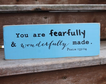 """Psalm 139:14, """"You are fearfully and wonderfully made."""" - Blessing Block - Wood Sign - Nursery Decor -Child Dedication -Baptism -Baby Shower"""