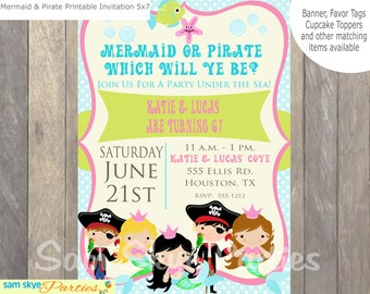 Under the Sea, Pirate and Mermaid Invitation, Mermaid Party, Pirate Party,  Birthday Parties Printable File
