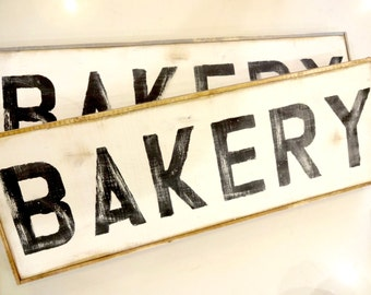 Bakery black and white rustic wood sign