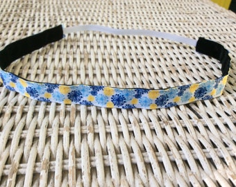 Blue Yellow Flower Headband - Skinny Flower Headband