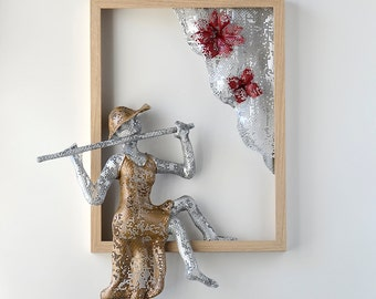 Framed art,  flutist woman sculpture, Housewarming gift, Metal wall art, Wire mesh sculpture, Contemporary art