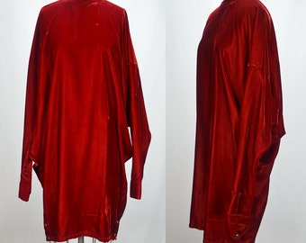 1980s Norma Kamali Red Velvet High Fashion Dress with Great Design Elements
