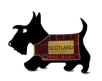 Scottish Terrier  Art Print 'Commonwealth' Scottie Dog #38