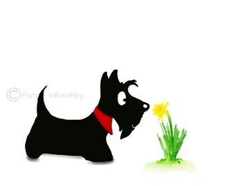Scottie Dog and Daffodil Flower Art Print #85
