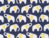 Flannel Navy Elephants by Cloud 9 Fabrics- Organic Cotton Flannel - OE 100 Certified Organic Cotton Elephant Fabric Baby Fabric Yellow