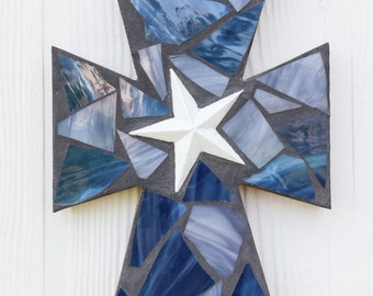 Dallas Cowboys Inspired Mosaic Cross, Stained Glass Cross, Mosaic Stained Glass Wall Hanging, Wall Cross