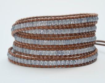 Baby Blue Czech Five Wrap Bracelet