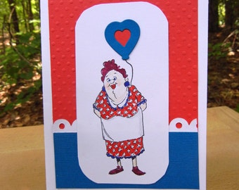Handmade Card with Woman Holding a Balloon: Blank Card that Can Be Personalized with Name and Occasion (See Options as Described)