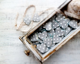 Boho wedding favors heart magnets cottage chic guest favors shabby chic bridal shower mint aqua turquoise white grey polka dot rustic