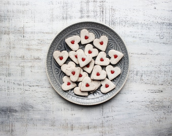 Rustic red heart magnets cottage chic off white wedding favors bridal shower birthday party favors baby shower bohemian ornaments