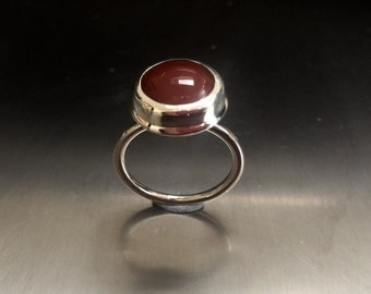 Silver and Carnelian Statement  Ring
