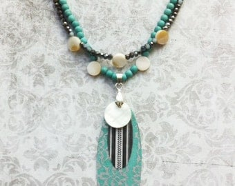 Boho Chic Necklace mother of pearl charms and paper -turquoise and hematite stones