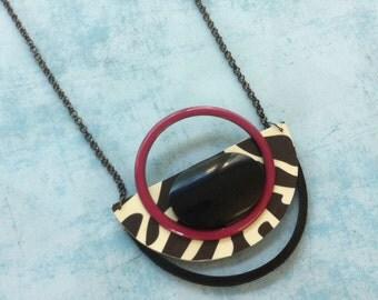 Bib Necklace - tribal necklace -  zebra pattern - half moon locket - statement necklace