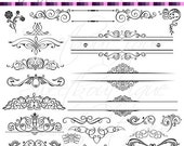 SALE BLACK Digital Clipart Frames wedding clip art  Embellishment Text Dividers Buy 3 get 1 free clipart 0350