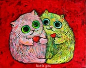 Valentine ' s Kirry Cats Art Print Signed by Artist 10/8 inch