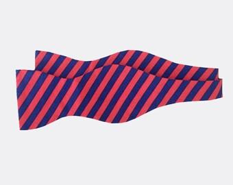 Bow Tie - Patriotic Red and Navy Stripes - Men's Self Tie - Freestyle Tie