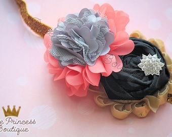 Dainty Duchess - Headband, Baby Headband, Photography Prop, Couture Headband, Hair Clip, Coral and Goal, Shabby Chic Headband