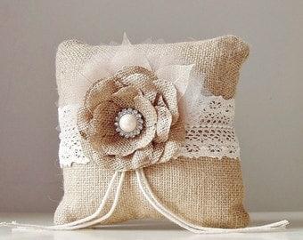 Burlap Ring Bearer Pillow, Rustic Wedding Pillow, Country Wedding Pillow, Ring Pillow