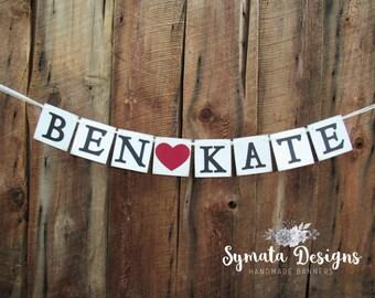 Name heart banner - wedding, anniversary, engagement banner - dark red heart -photo banner -IATY111