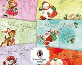 75% OFF SALE Digital Collage Sheet RETRO Christmas Digital Collage Christmas Postcards Set of 8 Digital Postcards DIgital Tags Instant Downl