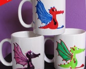 Sale 50% - Discontinued Product, Hand painted Mug with Dragons, Coffee Cup, Coffee Mug, Tea Cup, Tea Mug, Decorative porcelain with Dragon