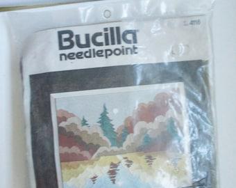 Vintage Bucilla Needlepoint Crewel Embroidery Kit #4118 Fall Reflections Picture Destash Crewel Embroidery 16 x 12 Needlecraft Kit Crewel