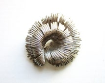 Curled Feather Brooch Silver Plated Double Layered 3D & Numbered