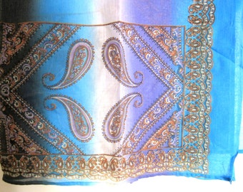 Sheer Poly Cotton Gauzy Fabric Remnant Multicolor & Ornate Paisley Print 84 x 42 Inches Tablecloth, Sari, Bed Cover Curtains Crafts