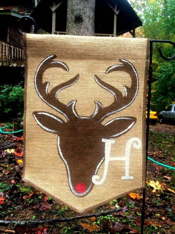 Burlap Garden Flag With Deer Stag And Monogram