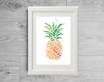 Pineapple print - Watercolor print - Fruit print - Pineapple poster - Watercolor pineapple - Modern decor- Printed on matte paper