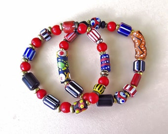 African Trade Bead Bracelet Pair.    Old red padre beads.  Krobo beads, Lava stone,  Unisex, tribal, iurban, hippy, African