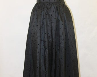 CHAUS 1980's Black Taffeta and Velvet Polka Dot Full Skirt Sz 8