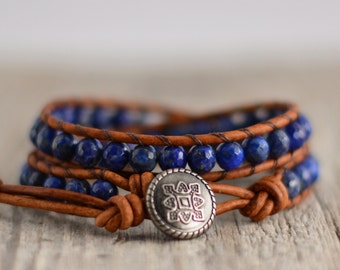 Bohemian bracelet. Dark blue leather wrap. Lapis lazuli jewelry