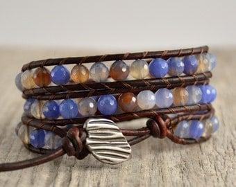 Cornflower blue beaded wrap. Shabby chic leather wrap bracelet.
