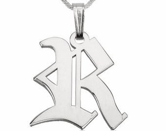 Sterling SilverOld English Initial Necklace with chain