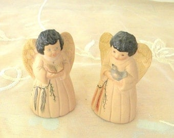 End of Summer Sale Set of 2 Southwestern Children Angels, Vintage Items, Angel with Bird, Angel Reading Bible, Native American, Figurines